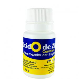 oxido de zinc 10gr Polvo cementante que actúa como un capuchón para la pulpa